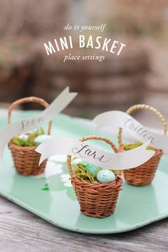 Why are mini things so cute? If you love everything mini like we do, check out the blog to see how to make our mini basket place settings for your Easter dinner! So cute and they would be great party favors for your guests!