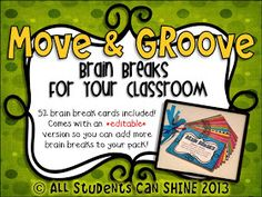 Move & Groove - Brain Breaks For Your Classroom - Pin now read later. Good idea to adapt to classes Classroom Freebies, Classroom Behavior, Future Classroom, School Classroom, Classroom Activities, School Fun, Classroom Organization, School Ideas, Classroom Ideas