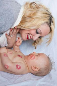 Covered in kisses baby & mommy photo