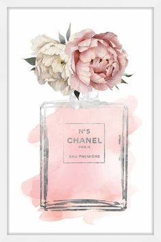 Chanel art Pink Peony watercolor silver by hellomrmoon