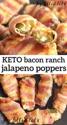 Bacon Jalapeno Poppers - Low-Carb Keto Gluten-Free Grain-Free THM S - these are the perfect appetizer or snack. Creamy and melted cheese inside of a spicy jalapeno pepper wrapped in a piece of delicious bacon with the perfect amount of ranch seasoning. Bacon Wrapped Jalapeno Poppers, Stuffed Jalapenos With Bacon, Stuffed Peppers, Ketogenic Recipes, Diet Recipes, Snack Recipes, Healthy Recipes, Dessert Recipes, Breakfast Recipes