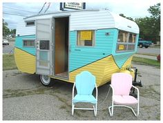 Could you be any more retro little camper? my parents have this trailer....would be fun to do:)