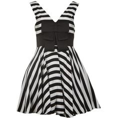 Forever Unique Womens Hattie Black & White Striped Dress ($215) ❤ liked on Polyvore