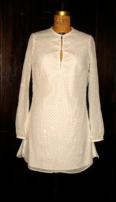 Ivory & Gold Sparkle Dotted Mini Dress Tunic by speakeasyboutique, $195.00