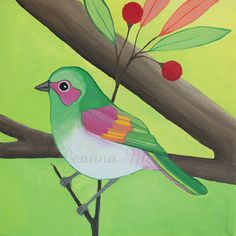 Bird  Painting - Original Acrylic on 6x6 Canvas - An Endless Song No. 17a. $85.00, via Etsy.