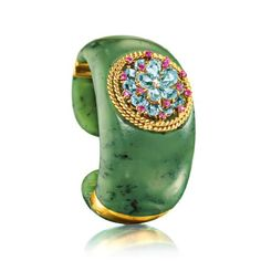 Verdura No. 55 Cuff One-of-a-kind 18k gold hinged nephrite jade cuff set with a vintage Verdura brooch. The detachable brooch is set with 15...