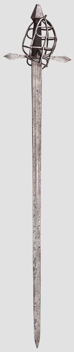 Sturdy single-edged blade with double-edged point and flat fullers on both sides. Lower half of blade partly with stronger signs of corrosion. Struck with a smith's mark on one side. Grid-like basket hilt, flat, straight cross guard with finger bow and thumb ring. Grip with rough iron wrap and Turk's heads. Tapering hexagonal pommel. Length 111 cm.  Condition:II -