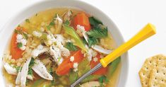 Get the recipe for Slow-Cooker Chicken and Pasta Soup.