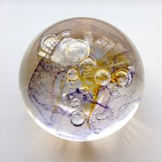 One of a Kind Amber & Lavender Glass Blown Paperweight