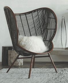 Modern Wing Back Curved Dark Rattan Chair - Mecox Gardens