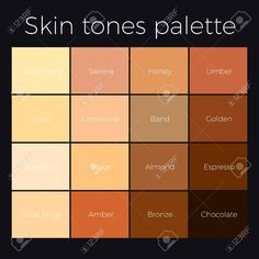 Illustration of Skin tones palette vector skin color chart. vector art, clipart and stock vectors. Neutral Skin Tone, Colors For Skin Tone, Neutral Colors, What Colors Go Together, Skin Color Chart, Skin Color Palette, Different Types Of Colours, Acrylic Portrait Painting, Colored Pencil Tutorial