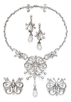 A Gold, Silver, Natural Pearl and Diamond Parure, adapted from a 19th century tiara. Consisting of a necklace, a pair of earrings and two brooches. Accompanied by a tiara fitting. #antique #tiara #necklace #earrings #brooch
