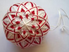 Candy Cane Temari Christmas Ornament by ShainasTemaris on Etsy