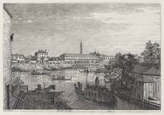 Giovanni Antonio Canal, called Canaletto, Italian, Venice, 1697–1768, Ale Porte del Dolo (At the Locks of Dolo), from the Vedute (Views), 1741–44. Etching plate: 28.32 x 43.43 cm (11 1/8 x 17 1/8 in.) The Arthur Ross Collection 2012.159.6.5. Photo credit: Yale University Art Gallery.