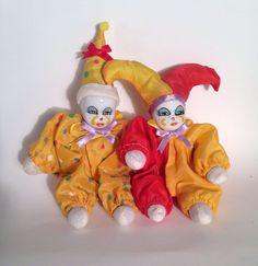 Pair of Porcelain Face Clown/Jester Dolls Clowns, Bowser, Porcelain, Pairs, Dolls, Face, Ebay, Fictional Characters, Decor