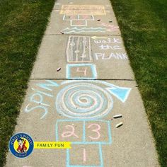 Fun Summer Games for Kids to Play Outdoors Sidewalk Chalk Summer Activities for Kids Outside Activities For Kids, Summer Activities For Kids, Summer Kids, Toddler Activities, Games For Kids, Fun Activities, Diy For Kids, Summer Games, Sidewalk Chalk Games