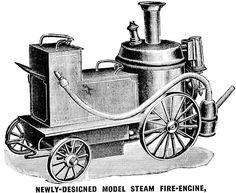 Steam Fire Engine machine clip art Digital image digi stamp download autos firemen printable vintage illustration graphics black & white art