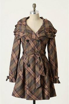 Anthropologie Puckered Plaid Trench Trench Coat $170