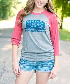 Another great find on #zulily! Heather Gray & Red 'Happy Camper' Raglan Tee - Adult #zulilyfinds