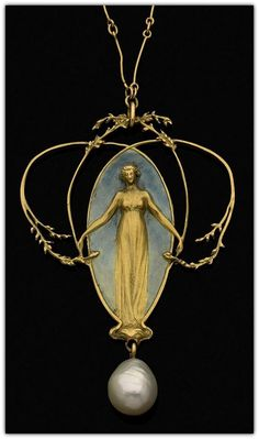 """ 'Femme et Feuillage' Pendant 