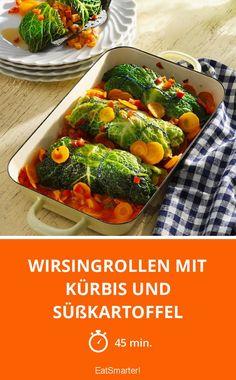 Wirsingrollen mit Kürbis und Süßkartoffel