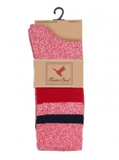 A pair of socks in red from the Twisted Soul collection featuring contrast stripes, marl finish, knitted finish and elasticated hems. Fathers Day Gifts, Gift Guide, Christmas Stockings, Stripes, Socks, Red, Collection, Needlepoint Christmas Stockings, Sock