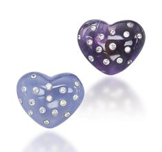 A PAIR OF AMETHYST, CHALCEDONY AND DIAMOND EARRINGS, BY JAR  Designed as a heart-shaped amethyst and a heart-shaped chalcedony, each inset with brilliant-cut diamonds, 1985, with French assay marks for platinum and gold.