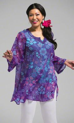 $85 I love this beatiful flowing blouse!  Plus Size Tops - ZANNA SHEER TUNIC - Plus and Super Plus Size Clothes for Women