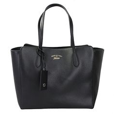 Gucci Women's Swing Black Leather Tote Bag Bag