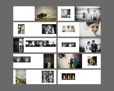A really appealing mix of contrasts - muted colour and greyscale, really large images balanced with multiple small ones, strong vertical and horizontal arrangements. Wedding Photo Books, Wedding Photo Albums, Wedding Book, Wedding Ideas, Layout Design, Graphisches Design, Wedding Album Layout, Wedding Album Design, Mise En Page Portfolio