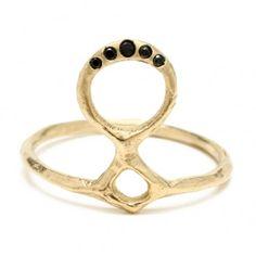 Totem Ring: 14K Gold and Black Diamonds : Odette New York