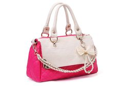 Wholesale Casual PU Leather Women's Tote With Chain Pearls Bow Design (PINK), Tote Bags - Rosewholesale.com