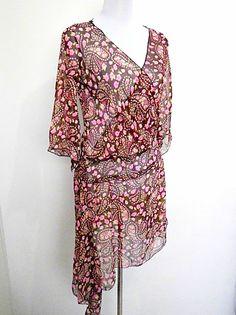 sheer brown & pink floral paisley ditsy drop by VintageHomage, $20.00