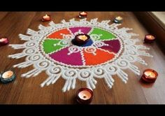 Here is a quick and easy sanskar bharti rangoli designs with colours for diwali and dussehra . It is based on one of my original rangoli designs and I have t. Rangoli Designs Latest, Rangoli Designs Flower, Rangoli Border Designs, Latest Rangoli, Colorful Rangoli Designs, Rangoli Ideas, Rangoli Designs Diwali, Rangoli Designs Images, Mehndi Art Designs