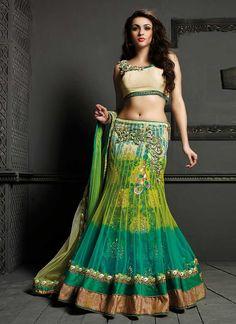 Magnificent Green Net Designer Lehenga Choli, Product Code :9665, shop now http://www.sareesaga.com/magnificent-green-net-designer-lehenga-choli-9665  Email :support@sareesaga.com What's App or Call : +91-9825192886