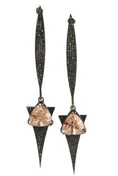 Vanessa Leu Fine Jewelry's 18-karat white gold and black rhodium earring with morganite and black diamonds.