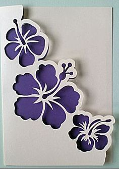 Shape: punched out flowers (hibiscus) with cut-to-size fixed inlay in . - Shape: punched out flowers (hibiscus) with cut-to-size fixed inlay in … – Shape: punched out f - Stencil Patterns, Stencil Designs, Paper Cards, Diy Cards, Flower Cards, Paper Flowers, Cricut Cards, Pop Up Cards, Paper Quilling