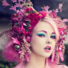 Pink deer headdress- Kawaii kitsch fascinator flowers and bells Asian Japanese style on Etsy, $230.00