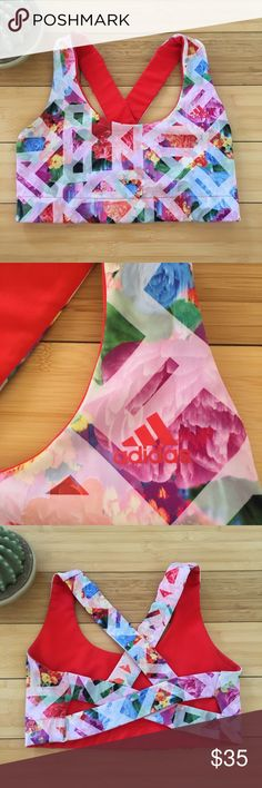 Adidas Floral Reversible Sports Bra Adidas reversible sports bra - floral/red.  This sports bra is really cute and comfortable.  The back features has some flattering small cutouts.  Size large - fits best size 8-10.  Very good used condition. adidas Intimates & Sleepwear Bras