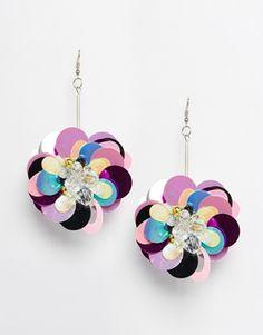 ASOS Sequin Flower Pom Pom Earrings #abalorios #bisuteriafina #Bisuterias #collaresdebisuteria #bisuteriadamoda #bisuteriapulseras