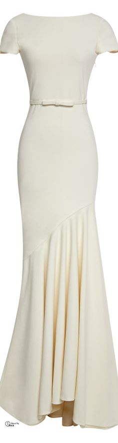 Katie Ermilio ● FW 2014, Ivory Cream Short Sleeve Scoop-Back Gown