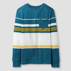 Boys' Long Sleeve Classic Stripe Pocket T-Shirt Cat & Jack™ - Blue : Target