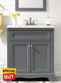 Best Accanto Contemporary 30 Inch White Finish Bathroom Vanity 400 x 300