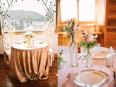 Full length sequin table cloth + simple chic tablescape = gorgeous! | Glam Romance Colorado Wedding on Ruffled