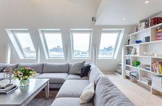 *** light, bright, white, huge sectional *** modern and bright attic living (via Miss Design)
