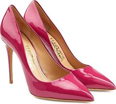 Salvatore Ferragamo Shoes - Pristine in high-shine patent leather, these pointed stiletto pumps are a statement choice from Salvatore Ferragamo. Wear the hot pink hue with all-black to keep them in focus. - #salvatoreferragamoshoes #magentashoes