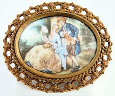 Vintage Porcelain Miniature Medallion Portrait Romantic Courting Couple