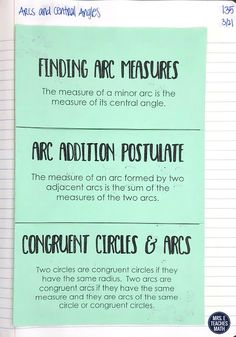 This foldable for angles and arcs in circles is perfect for high school geometry students.  My students liked the class notes and we finished up the lesson with an activity.  I started the lesson with vocabulary and finished with an extra problem for honors students.