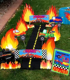 MONSTER TRUCK Party - Monster Truck FLAMES - Monster Jam Party- Truck  Racing Party