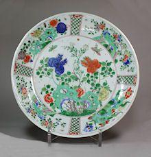 Chinese famille verte dish, Kangxi (1662-1722) dec